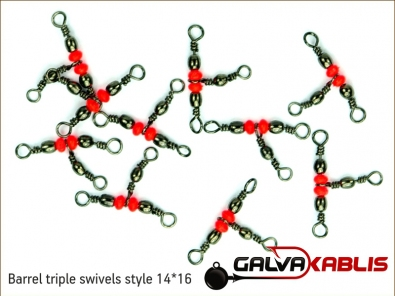 Barrel triple swivels style 14x16