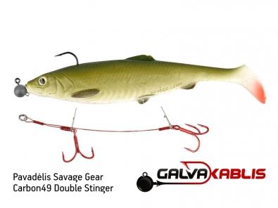 Pavadėlis Savage Gear Carbon49 Double Stinger