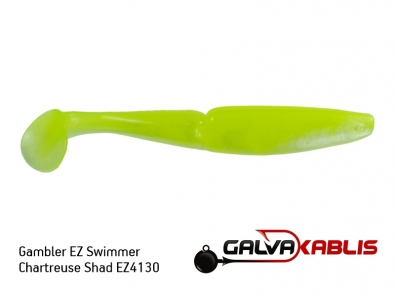 Gambler EZ Swimmer Chartreuse Shad EZ4130
